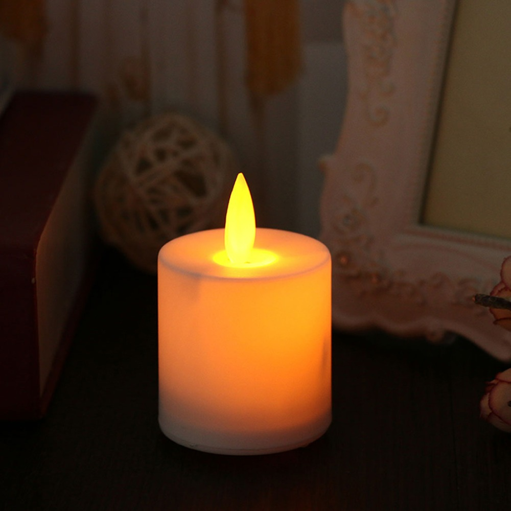 6/12 pcs Amber Yellow Flickering Flameless Tea Lights With Moving Wick,Dancing flame Battery Candles
