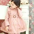 Otoño invierno Niños Trinchera Abrigo Chica chaqueta de Encaje Princesa de Las Muchachas Turn collar Ropa Para Niños Outwear 100-140