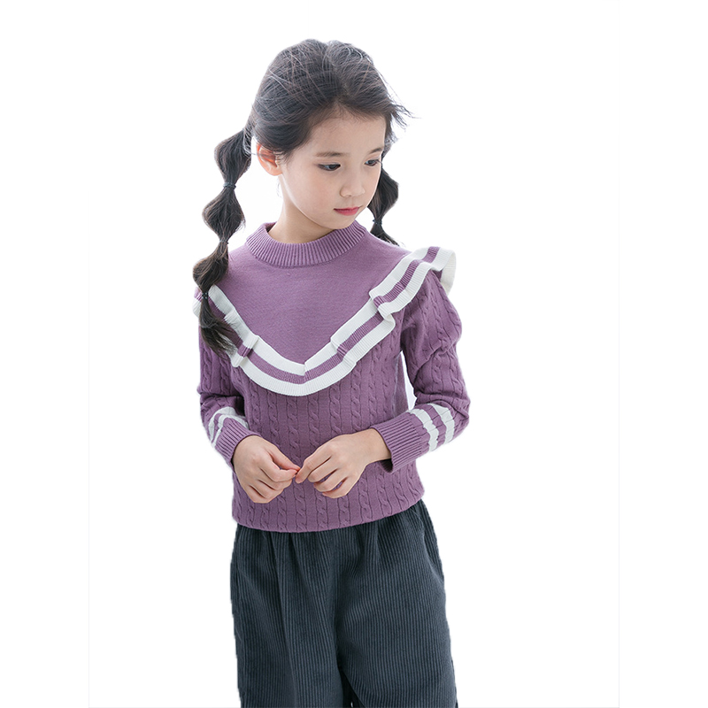 Autumn Style Navy Collar Design Worsted Core Yarn Sweater for children Collton Pure Color