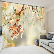 The Cute Tigers Tree 3D Printing Curtains With Bedding Room Living Room or Hotel Cortians Thick