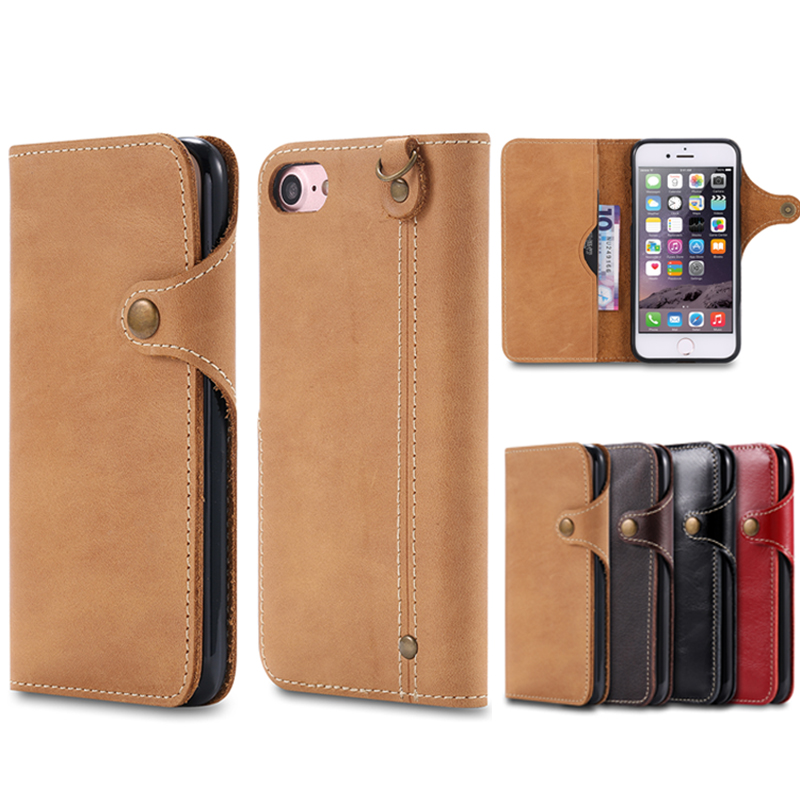 2016 New Fashion Natural Real Genuine Leather Wallet Case For iPhone 7 6 6S Plus Cell