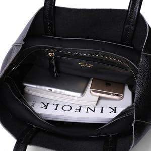 Image 4 - Genuine Leather Bag Women Shoulder Bag Shopping Bag Lady High Capacity Waterproof Parent subsidiary Casual Totes Zipper Handbag