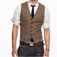 Vintage Brown tweed Vests Wool Herringbone British style Mens suit tailor slim fit Blazer wedding suits for men