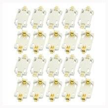 20 قطعة الأبيض الإسكان CR2032 SMD زر خلية البطارية حامل المقبس حالة