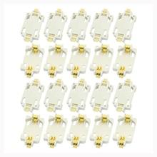 20 adet beyaz konut CR2032 SMD hücre düğmesi pil tutucu soket kılıf