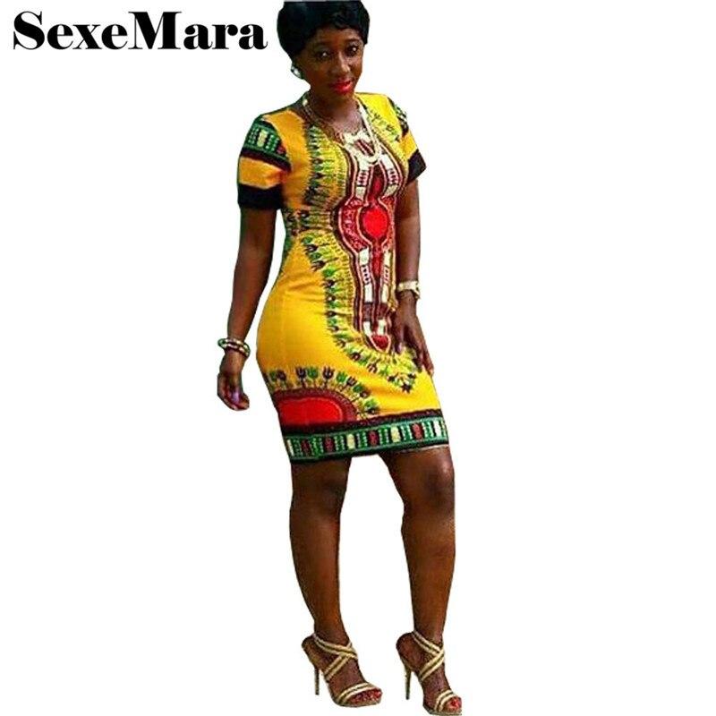 2018 sommer Kleid Frauen Plus Größe Afrikanische Kleider Für Frauen Dashiki Kurzarm Print Mini Mantel Verbandkleid S-3XL D28-F77