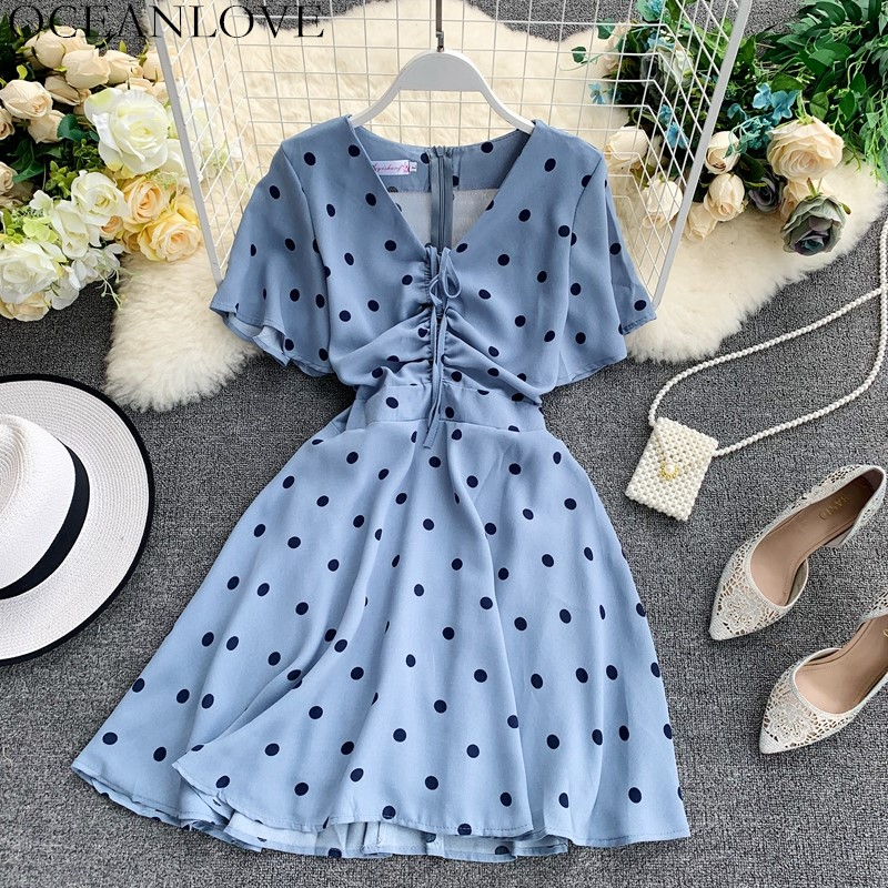 OCEANLOVE Dot Vintage Chiffon Summer Dress Women V-neck Pleated Lace Up Vestidos Short Sleeve Fashion Lady Midi Dresses 12181