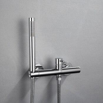 Matt Black/Chrome Brass Handheld Shower Mixer Set Bathroom Shower Faucet Bath Faucet Mixer Tap With Hand Shower Wall Mounted modern wall mount polished chrome brass bathroom clawfoot hand shower faucet mixer tap set telephone shape hand spray ana209