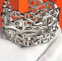 ZOZIRI famous brand jewelry hollow silver color wide H lock bangle bracelet women ladies accessories