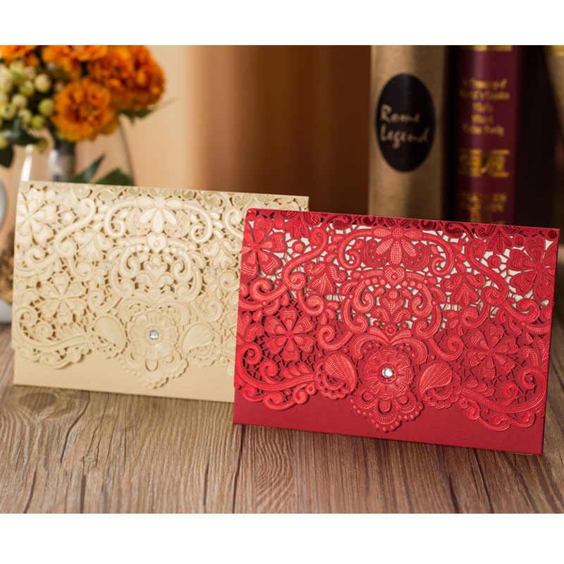 1 قطعة عينة الذهب الأحمر الليزر قطع الماس دعوات زفاف بطاقة بطاقات المعايدة أنيقة لصالح حفل زفاف الحدث زينة