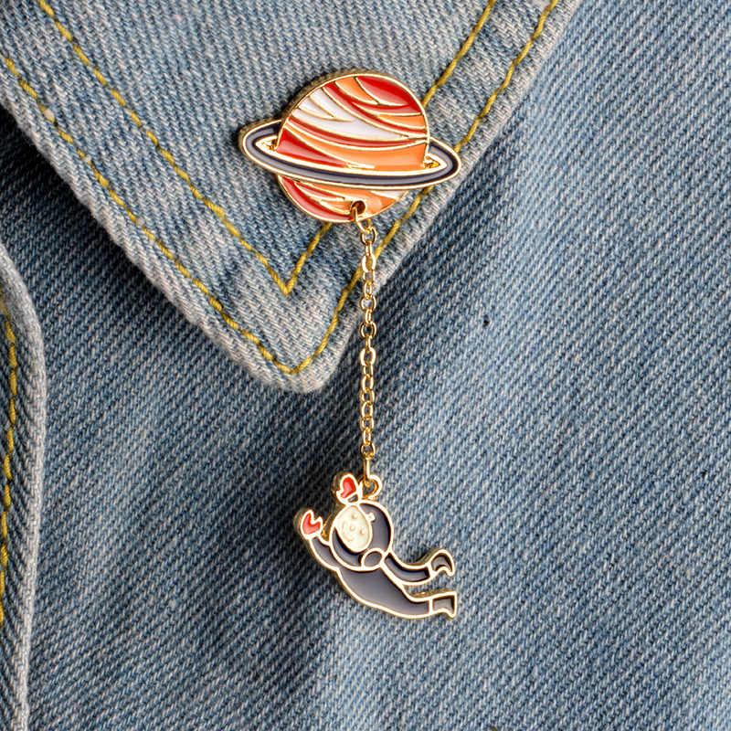 2 стиля галактика планета Сатурн астронавт кролик брошь булавки с цепочкой рубашка украшения на шею влюбленных унисекс ювелирные изделия