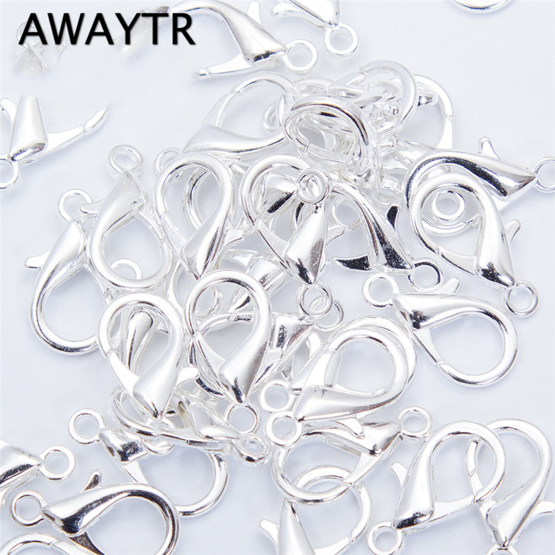 Awaytr 100pcs 14mm Lobster Clasps Hooks Black/Gold/Silver Components For Jewelry Making Necklace Bracelet DIY Jewelry Findings