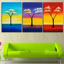 Hand painted Abstract Landscape Oil Paintings, Color Cloud Tree Wall Art, 3 Panel Canvas