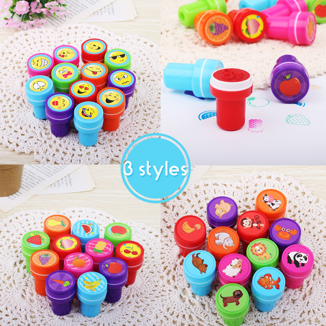 Cartoon Animals Fruits Kids Seal 12pcs Set Children Toy Round Stamps For Scrapbooking Stamper DIY Painting Photo Album Decor in Stamps from Home Garden