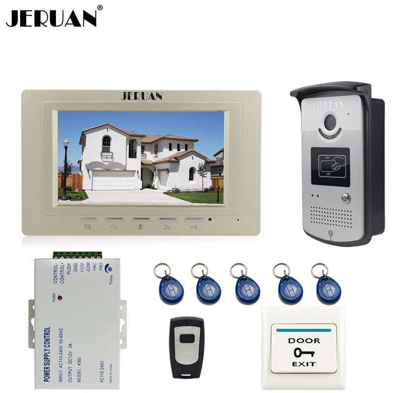 JERUAN Home Doorbell 7`` TFT Video Door Phone Intercom System kit 1 Monitor +700TVL RFID Access Camera In Stock FREE SHIPPING free shipping brand new wired 7 color home video door phone doorbell intercom system 1 rfid access camera 1 monitor in stock