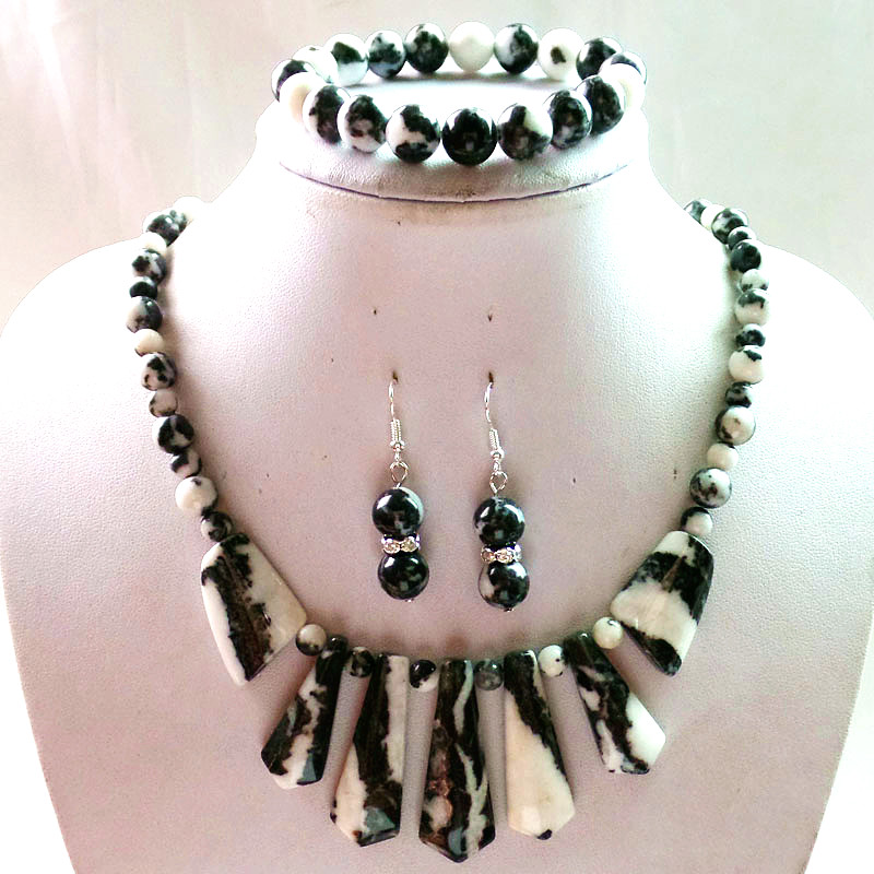 New Fashion 6mm&8mm Black and white Zebra Stone Arrow Necklace18.5inch &10mm Earrings and stretchy bracelet For Unisex For Gift