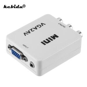 kebidu Hot Sale VGA to AV Mini Converter Adapter Support 1080P VGA2AV Converter PC to TV HD Computer to TV Wholesale(China)