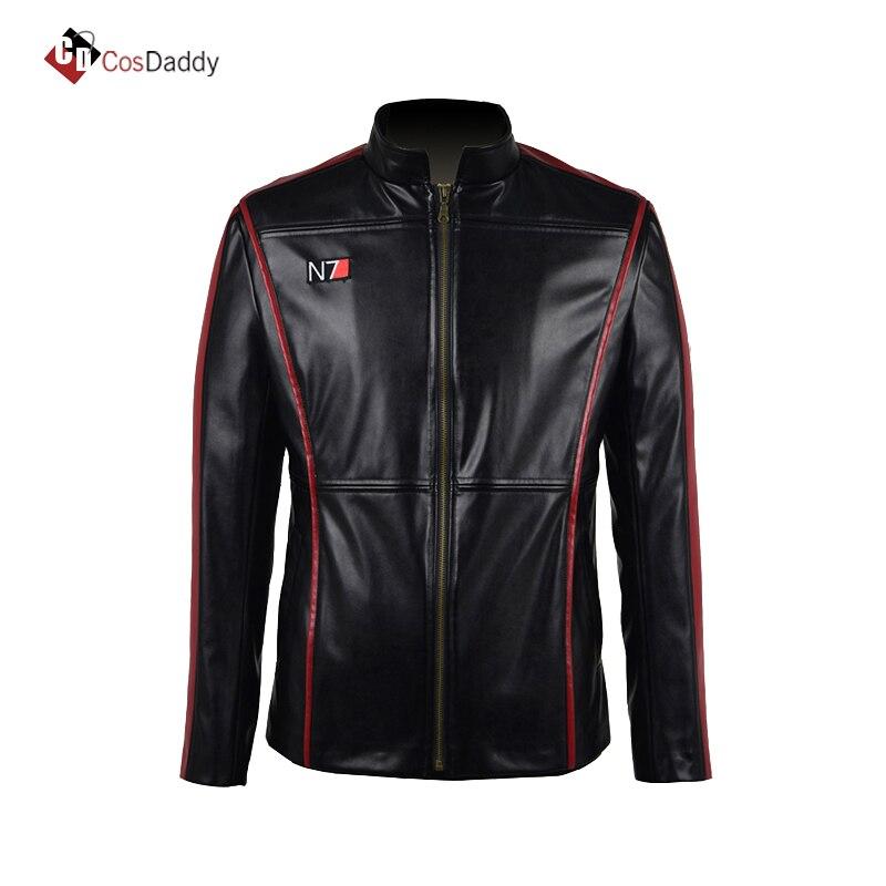 MASS EFFECT Cosplay Costume John Shepard  Jacket  Leather  N7 Coat CosDaddy
