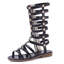 COZULMA Summer Girls Sandals Girl Shoes Cut-Outs Roman Style Gladiator Kids Bright Skin With Stars Child Size 26-35