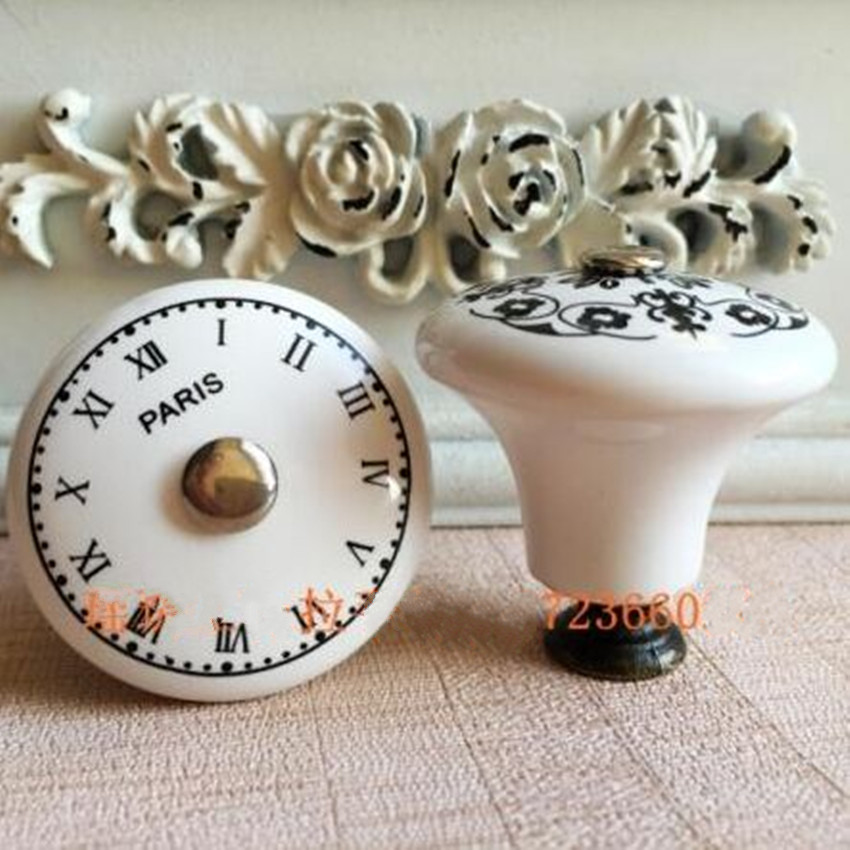 Europen style retro Pattern ceramic drawer cabinet knobs pulls france clock digital dresser cupboard door handle knob porcelain retro digital flip page gear clock