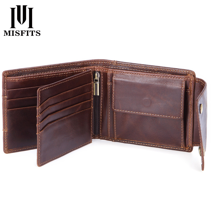 MISFITS genuine cow leather men wallets coin pocket fashion male mini purses women wallet card holders brand high quality wallet
