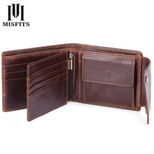 купить MISFITS genuine cow leather men wallets coin pocket fashion male mini purses women wallet card holders brand high quality wallet дешево