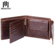 MISFITS oryginalna krowa męskie portfele skórzane kieszonka na monety moda mężczyzna mini torebki damskie portfel etui na karty marki wysokiej jakości portfel