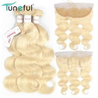 Russian Blonde Bundles With Frontal Body Wave Tuneful 100% Brazilian Remy Human Hair Weft Extensions 613 Bundles with Frontal