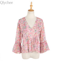 Qlychee V Neck Flare Sleeve Ruffle Blouse Summer Women Casual Long Sleeve Chiffon Shirt