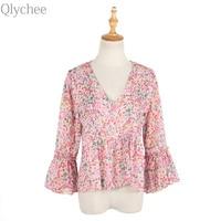 Qlychee V Neck Flare Sleeve Ruffle Blouse Summer Women Casual Long Sleeve Chiffon Shirt