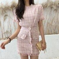 Pink plaid tweed short sleeve tops + Buttons Tassel High Waist Skirts fringed summer ladies skirt suit women 2 piece set