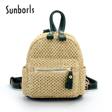 1e518a2f4a Mochila Feminine Beach Straw Backpack Women Drawstring Bag Knitting Rucksack  Leather Rattan Back Pack For Girls