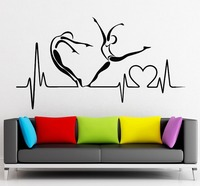 New Arrival Creative Vinyl Decal Pulse Heart Health Healthy Lifestyle Hospital Clinic Wall Sticker Home Room Decoration