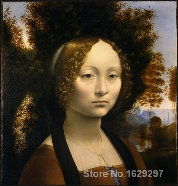 Portrait Femme peinture Leonardo Da Vinci Ginevra De Benci main de Haute qualité