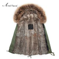 Real Rabbit Fur Mens Fur Parka With Big Genuine Raccoon Collar High Quality 2015 New Fashion
