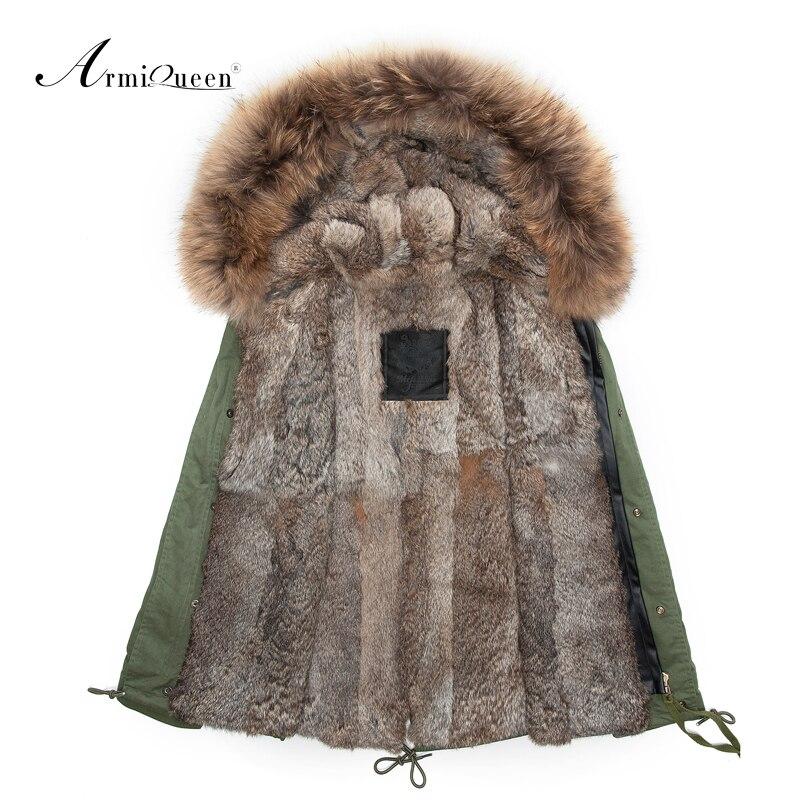 Reale della pelliccia del coniglio mens parka pelliccia con grande collare procione genuino, di Alta qualità 2015 Nuovo Mens di modo di inverno outwear giacca
