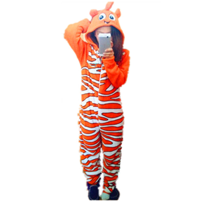 Unisex Anime Cartoon Fish Nemo Pajama Animal Clownfish Onesies Cosplay Nemo Costume For Adults One Piece Sleepwear For Party