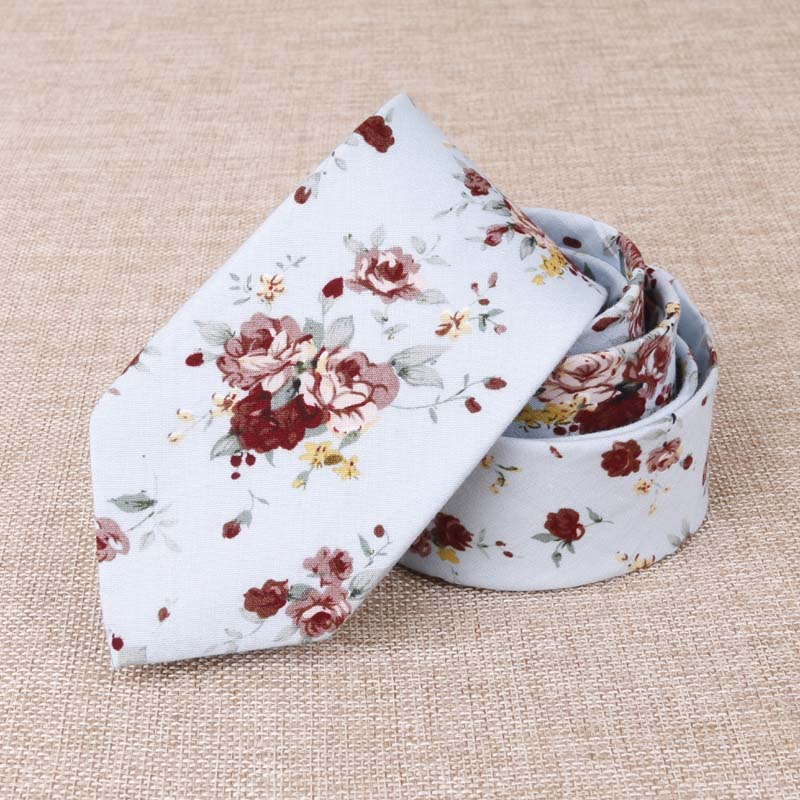 Slim Casual Skinny Necktie Narrow Fashion Party Flower Printed Neck Ties Men