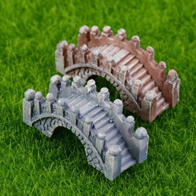 Stein Brücke Abbildung Dekorative Mini Fee Garten Cartoon Gebäude