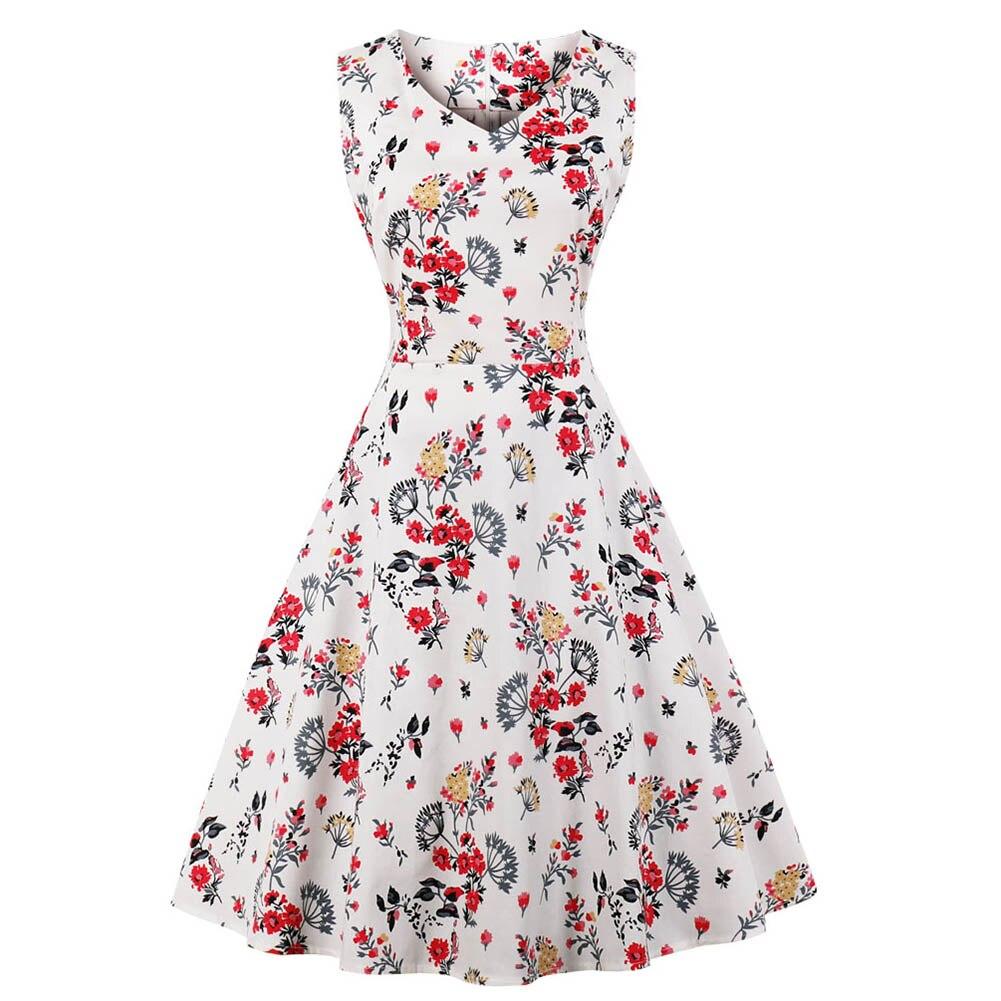 Women's Dress V Collar Sleeveless Printing Vintage Lady Summer Medium Length For Party  XRQ88