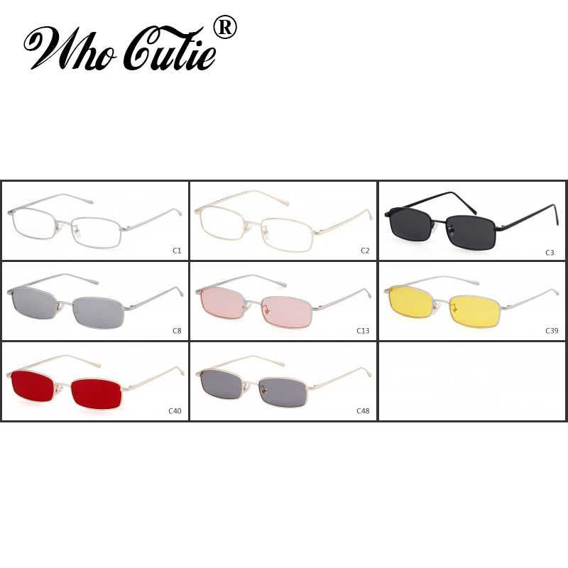 55c2df39a9 ... WHO CUTIE 2018 Small Narrow Rectangle Sunglasses Women Men Brand Red  Clear Lens Skinny Slim Wire