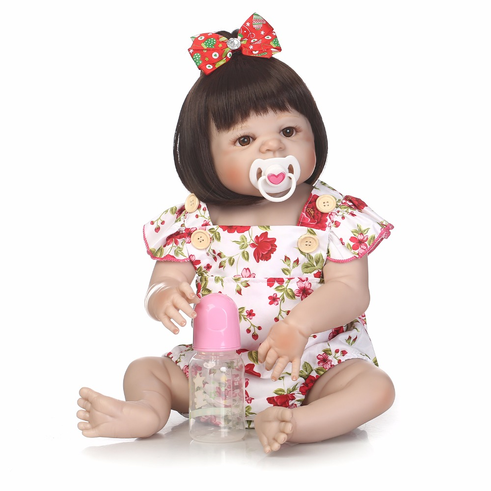 55cm Full Body Silicone Reborn Girl Baby Doll Toys 22inch Newborn Princess Toddler Babies Doll Cute Birthday Gift Bathe Toy 55cm full silicone body reborn baby doll toys like real 22inch newborn boy babies toddler dolls birthday present girls bathe toy