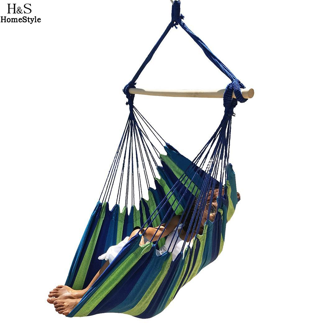 Outdoor Large New Rope Spaces Comfort Hanging Chair Soft Seaside Stripe Hammock seaside coconut tree print wall hanging tapestry