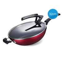 32cm Household Frying Pan Aluminum Alloy Smokeless Flat Bottom and Non stick Pan Healthy Wok with Upright Glass Cover