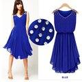 Женская одежда 2016 новый летний платье сарафан алмаз нерегулярные подол подколоть элегантная дама синий белый черный шифон платье DR503