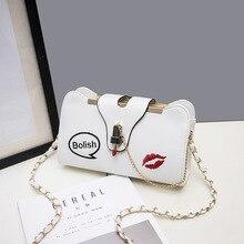 Women Handbag Leather Shoulder Bag Small Lock Crossbody Embroideried Lipstick Chain Designer Casual Bags