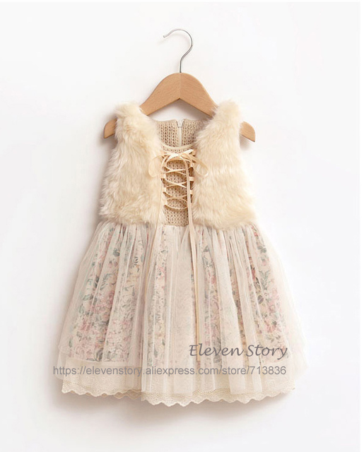 1 to 7 years Girls lace floral dresses, child winter tulle brief clothes, kids boutique fashion original clothing, R1ES12DS-86
