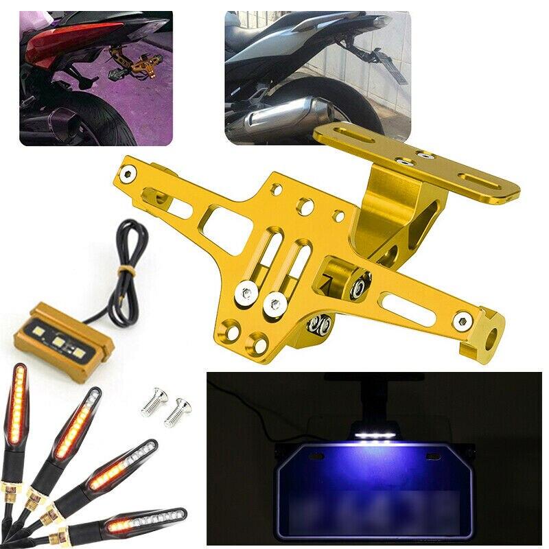 Universal Motorcycle Fender Eliminator Adjustable License Plate Holder Bracket LED With 2 Pair Of  Signal Lights