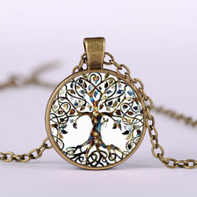Tree of Life Crystal Round Small Pendant Necklace Gold Silver Colors Women  Sweater Chain Jewelry Gifts Dropshipping for 2018 round owl pendant necklace for women tree life crystal necklace gold silver rhionstone jewelry female animal collar 2019 fashion