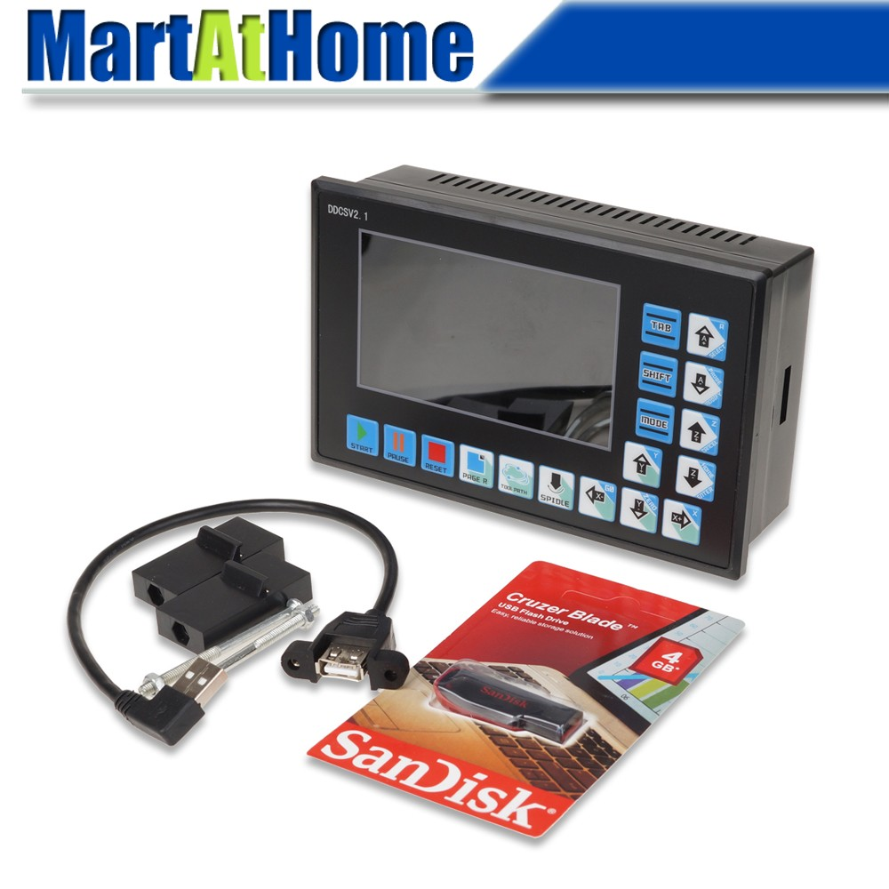 Система управления с ЧПУ DDCSV2.1, USB 500 кГц, 3/4 оси, контроллер движения, TFT связь, g-код ARM9 + FPGA, поддержка USB флеш-накопителя, чтение